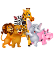 Animals cartoon posing vector image vector image