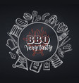 barbecue round banner blackboard style vector image vector image