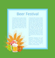 beer festival poster with tasty food and beverage vector image vector image