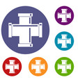 black pipe fitting icons set vector image vector image