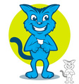 Blue Cat Cartoon vector image vector image