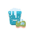 bucket with foam detergent and sponge in colorful vector image vector image