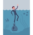 Businessman drowning chained with a dollar sack vector image vector image