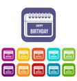 calendar happy birthday icons set vector image vector image