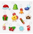 Christmas and New Year stickers holiday symbols vector image