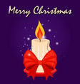 christmas card with candle and red bow vector image