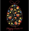 colorful easter egg on black background vector image