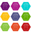 coral icons set 9 vector image