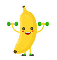 cute happy smiling banana doing exercises vector image vector image