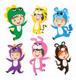 cute kids in costumes set vector image vector image