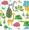 cute pattern with cartoon jungle animals in forest vector image