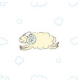 cute sheep flying in the clouds vector image vector image