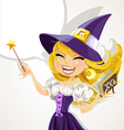 Cute young witch with magick wand and book vector image