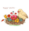 easter card chicken and a basket flowers vector image