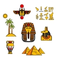 Egypt travel and culture icons vector image