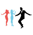 elegant silhouettes of people wearing clothes of vector image
