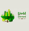 environment day banner eco city in tree vector image vector image