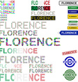 Florence text design set vector image vector image