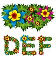 flowers alphabet 02 vector image vector image