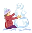 girl and a snowmen vector image vector image