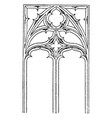 gothic tracery two main types vintage engraving vector image vector image
