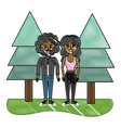 grated nice woman and man couple with pine trees vector image vector image