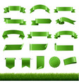green labels and ribbon set with green grass vector image