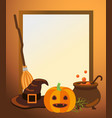 halloween photo frame with traditional symbols vector image vector image