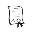 hand drawn icon of certificate vector image vector image
