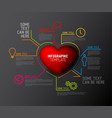 heart infographic report template vector image vector image