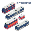 Isometric City Transportation Bus Set vector image vector image