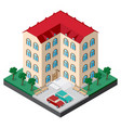 isometric multistory building courtyard with vector image vector image