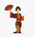 japanese woman with fan vector image
