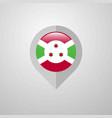 map navigation pointer with burundi flag design vector image vector image