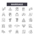 marriage line icons signs set linear vector image vector image