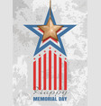 memorial day card gold star on a concrete slab vector image vector image