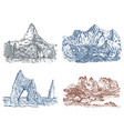 mountains peaks vintage everest and matterhorn vector image