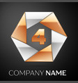 number four logo symbol in the colorful hexagon on vector image vector image