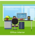 Office Interior in Flat Style Modern Workspace vector image vector image