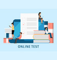 online exam people concept tiny students fill on vector image vector image