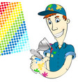 painter in uniform with spray gun vector image vector image