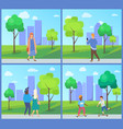 people walking in city park recreation vector image vector image