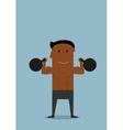 Powerful athlete doing exercises with kettlebells vector image vector image