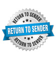 return to sender 3d silver badge with blue ribbon vector image vector image