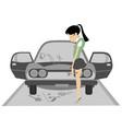 sad young woman and broken car vector image vector image