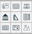 school icons set collection of education center vector image vector image