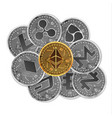 set of gold and silver crypto currencies vector image vector image