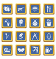 spring icons set blue square vector image