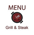 sticker baner or logotype barbecue on grill grill vector image