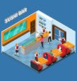 sushi bar isometric vector image vector image